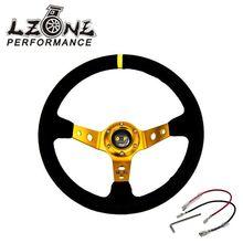 LZONE-ЗОЛОТОЙ руль ID = 14 дюймов 350 мм OMP Deep Кукуруза Дрифтинг Руль/Замша рулевого колеса JR-SW21G