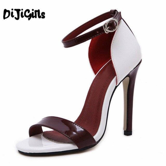 Tacones de aguja Peep Toe zapatos de hebilla wLAqo8