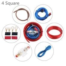 цена на 1 Set 350 Core 4 Square PVC +Copper Clad Aluminum Car Power Amplifier Audio Line Speaker Woofer Cables Power Line with Fuse