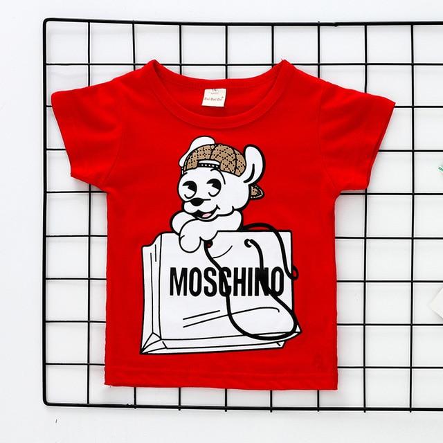 ZSIIBO vogue camiseta de las muchachas de los niños ropa de manga corta de dibujos animados niños Camiseta de algodón niños camiseta chica ropa