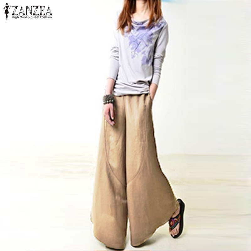 Women Vintage Casual   Wide     Leg     Pants   2018 ZANZEA Lady High Waist Pockets Party Pantalon Palazzo Plus Size Autumn Long Trousers