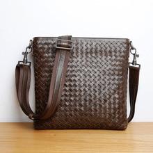 LAN  men's leather woven shoulder bag handmade cross boday bag men's fashion brief case