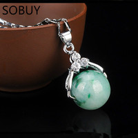 Diamond Transfer Beads Natural Green Jades A Goods Jewelry Necklaces LuLutong Pendant Female Necklace Silver Women Jewelry Gift
