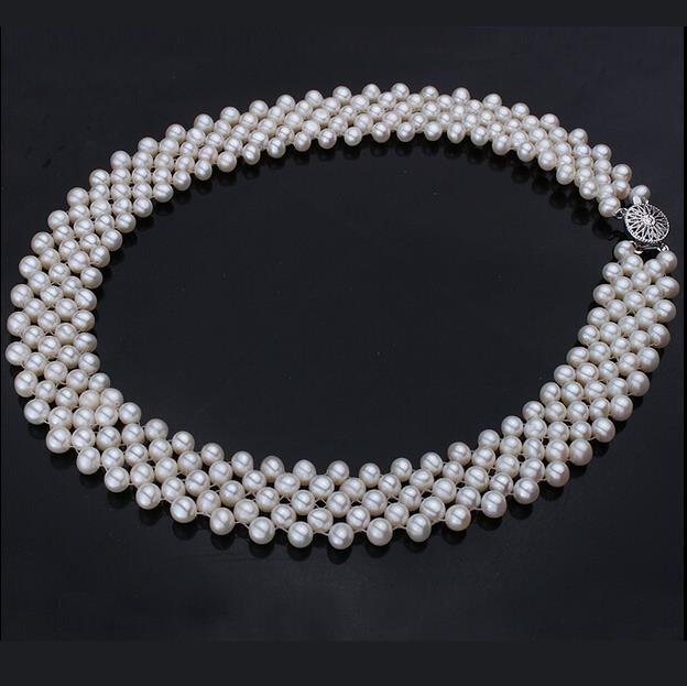 Luxury three layer of pearl necklace with   clasp
