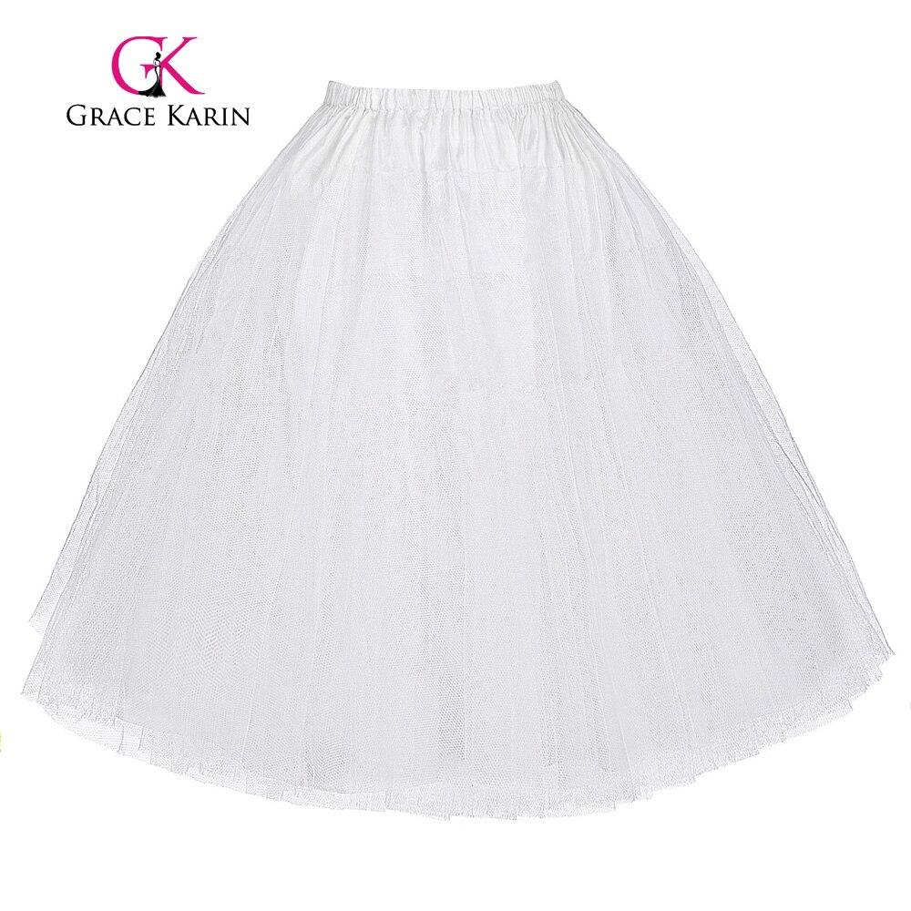 Grace Karin Official Store Women's Retro Vintage Crinoline Petticoat Underskirt 3 Layers jupon Short Black White Red Petticoats Plus Size For 50s Dress