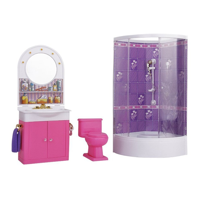 For Barbie Cute Glass Bathroom Play Set With Toilet Dressing Mirror Accessories For Monster High Dolls Christmas Birthday Gift