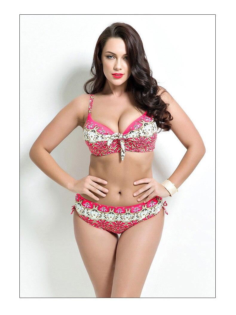 17 Women Plus Size Bikini Set Brazilian Push Up Women High Waist Swimwear Big Chest Swimsuit Plus Size Print Swimsuit 5XL 13