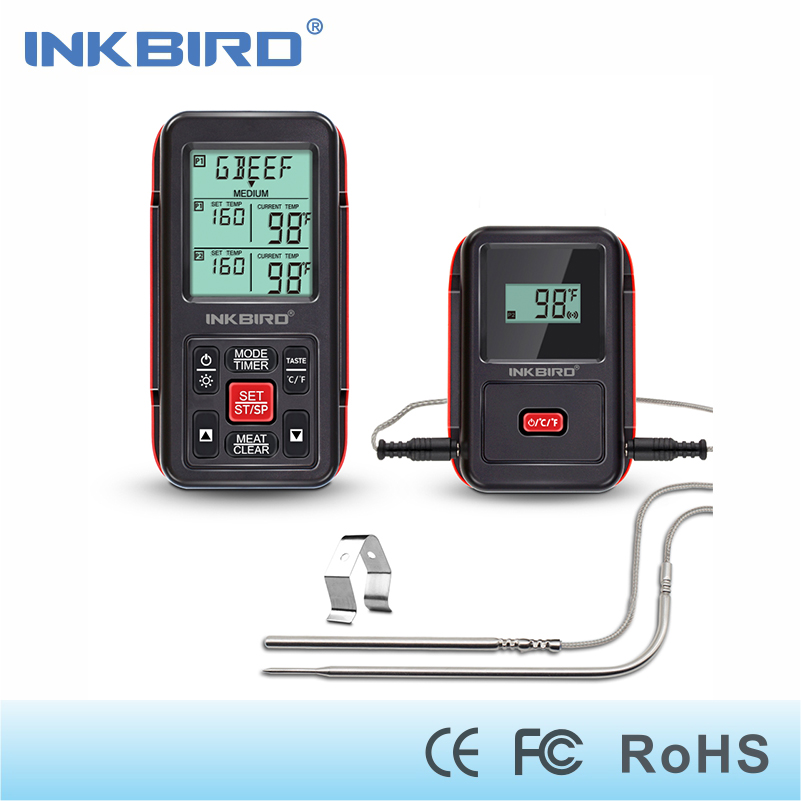 цена на Inkbird Remote Cooking Wireless Thermometer 1000 Feet for BBQ/Grill/Oven/Smoker with Food-grade Probes ( 1 Meat + 1 Oven Probe)