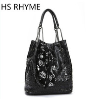HS RHYME Vintage Skull Bucket Chain Bag Women Messenger Set Shoulder Bolso With Silk Casual Handbags