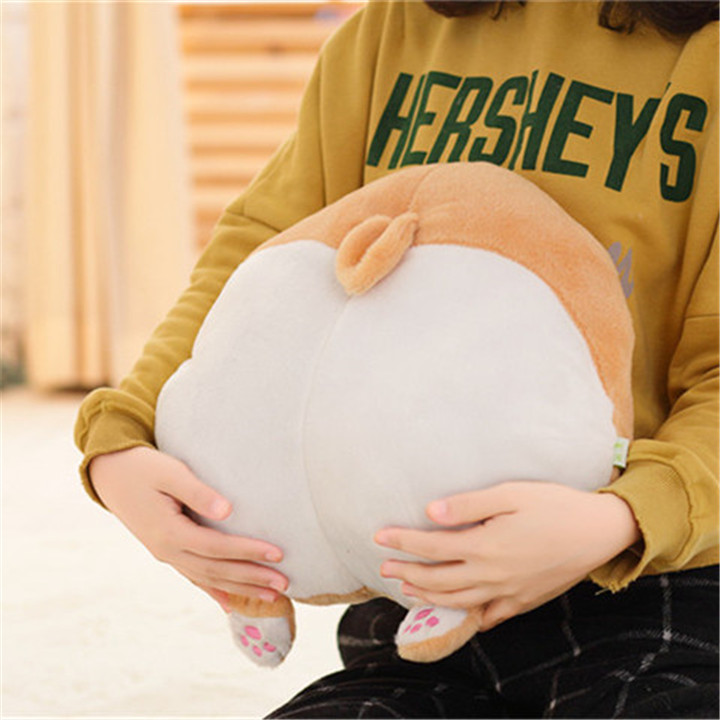 Nooer Kawaii Sexy Corgi Butt Shape Stuffed Plush Hand Warm Pillow Plush Corgi Hip Sofa Cushion Children Girlfriend Kids Toy