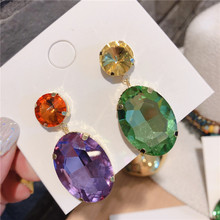 Big Oval Crystal Drop Earrings For Women Green Purple Personality Colorful AB Statement Party Fashion Jewelry