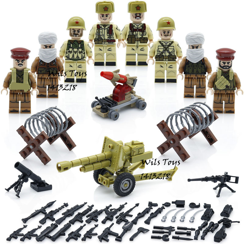 4 in 1 Afghan Army WW2 Russian Military Soviets Soldier SWAT Special Forces Building Blocks Bricks Figures Boy Toy Gift Children new fx3u 64ccl special function blocks