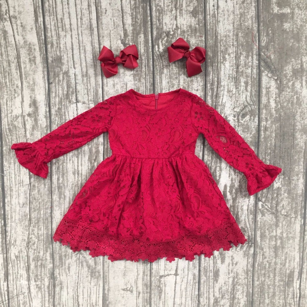 baby girls fall winter dress girls lace boutique dress girls party lace dress children Fall wine red lace dress with clipbows wine red lace up details off shoulder lantern sleeves mini dress