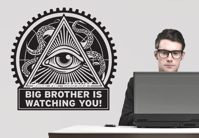 Art Design Sticker Big Brother is watching you! Removable Vinyl Wall Stickers Home Decor Living Room Mural Office Decal LA235