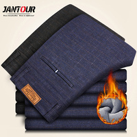 Jantour Brand Winter Trousers Men Thick Velvet Business Casual Pantalon Homme Male Warm Fleece Pants Men
