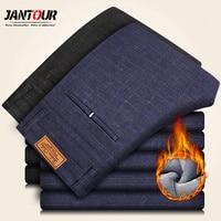 Jantour Brand Winter Trousers Men Thick Velvet Business Casual Pantalon Homme Male Warm Fleece Pants Men