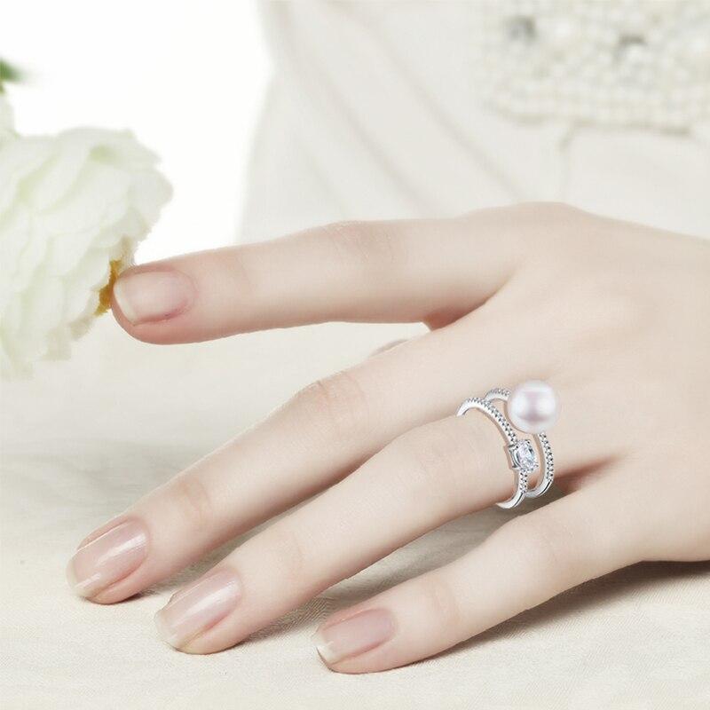 Hongye New Design 100% բնական Pearl Rings 925 - Նուրբ զարդեր - Լուսանկար 6