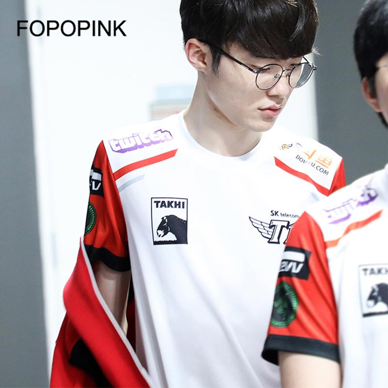 Skt Faker   T     Shirt   Lol S9 Competition Skt T1 Short Sleeve Tshirt Cotton Uniform Men Women 1:1 Quality Team Jersey Skt1 Tops Z40