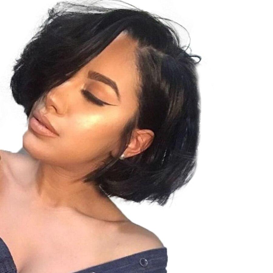 RXY боб парик короткие натуральные волосы Искусственные парики для черный для женщин 150% Плотность 12x6 бразильский Remy Боб синтетические волос...