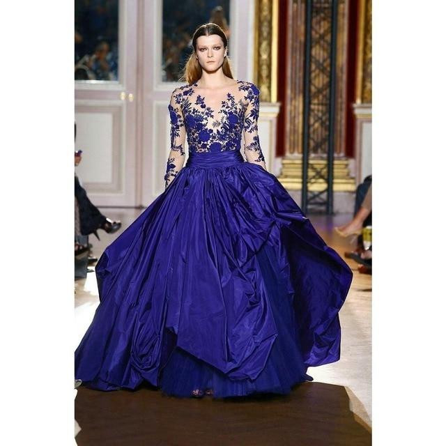 2015 New Designer Unique Long Sleeves Royal Blue Prom Dresses Formal ...