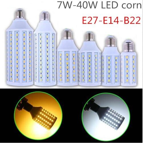 2pcs/lot Super brightness 7W 9W 12W 15W 25W 30W 40W E27 E14 B22 E26 SMD5730 Screw Corn Light 360degree lighting angle led bulb