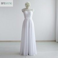 White Chiffon Lace Beading A Line Formal Evening Dress Floor Length Sleeveless Real Original Photos Custom