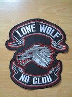 14 인치 고독한 늑대 없음 클럽 날이 큰 자수 패치 재킷 위로 조끼 오토바이 바이