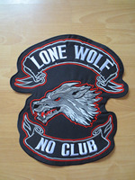 14 inches lone wolf geen club slagzwaard grote Borduurwerk Patches voor Jacket Terug Vest Motorfiets Biker