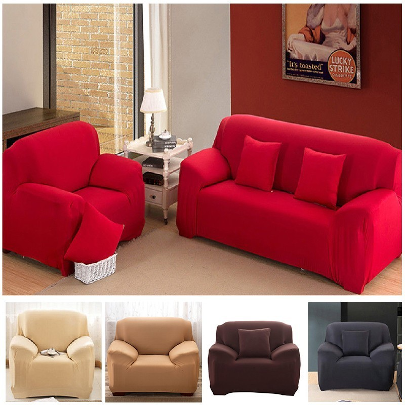 1/2/3/4 Seater Solid Sofa Cover Spandex Modern Elastic Polyester Couch Slipcover Chair Furniture Protector Living Room 6 Colors