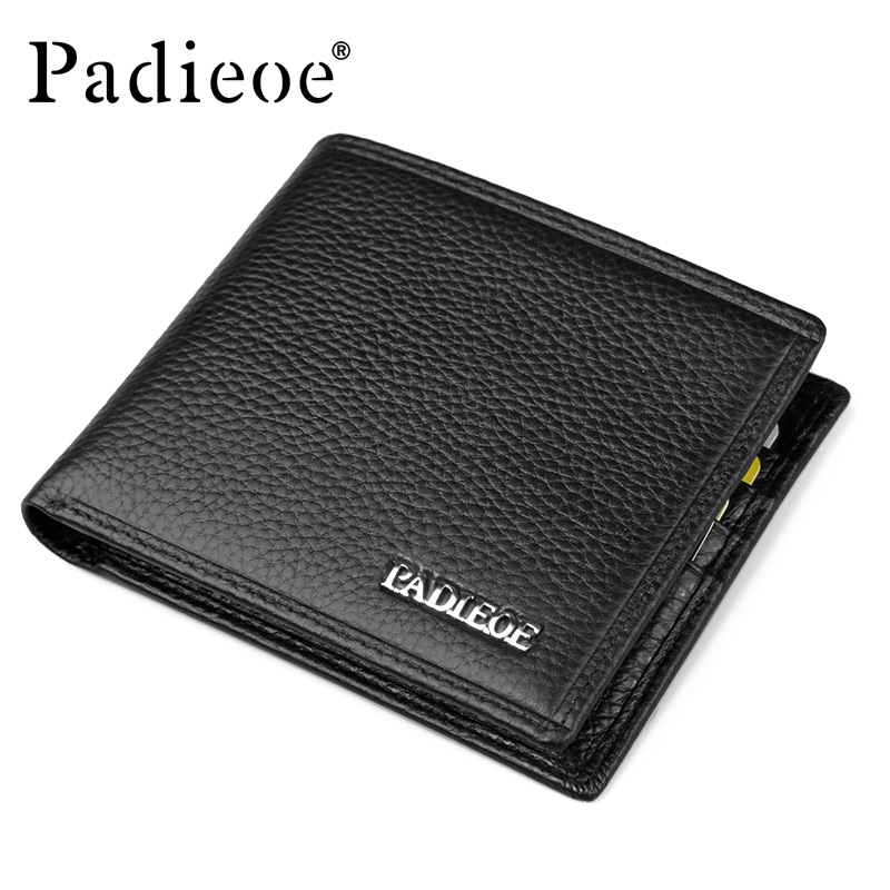 Padieoe Luxury Genuine Cow Leather short Men's Wallet Luxury Brand Durable wallets Real Cowhide Leather Men purse Coin Pocket padieoe luxury brand men wallets genuine leather male business oil cow leather trifold purse