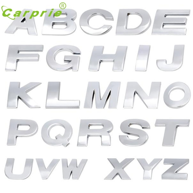 Dependable a z 3d car decals car emblem letter metallic alphabet sticker letter silver badge