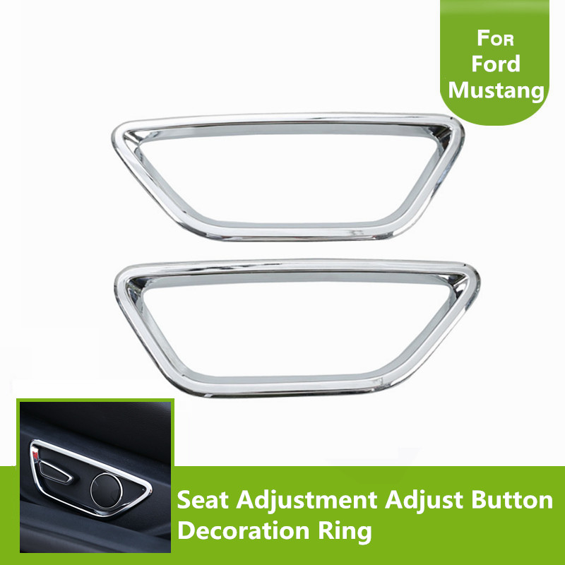 2pcs Chrome Red Blue ABS Seat Adjustment Adjust Button Decoration Ring Frame Trim For Ford Mustang