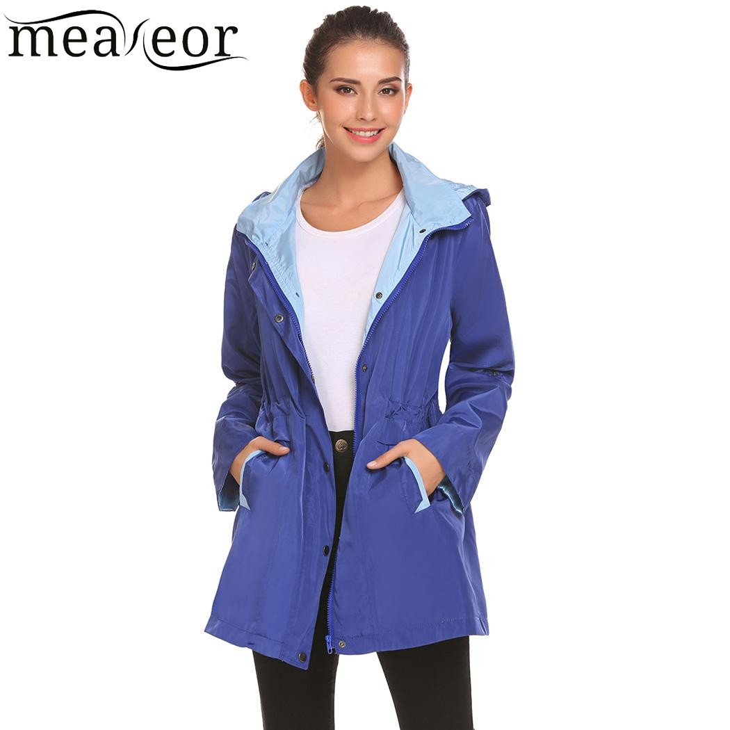 Meaneor Casual Basic Drawstring Lightweight Jackets Autumn 2017 New Women Detachable Hooded Long Sleeve Jacket Outwear Coat top
