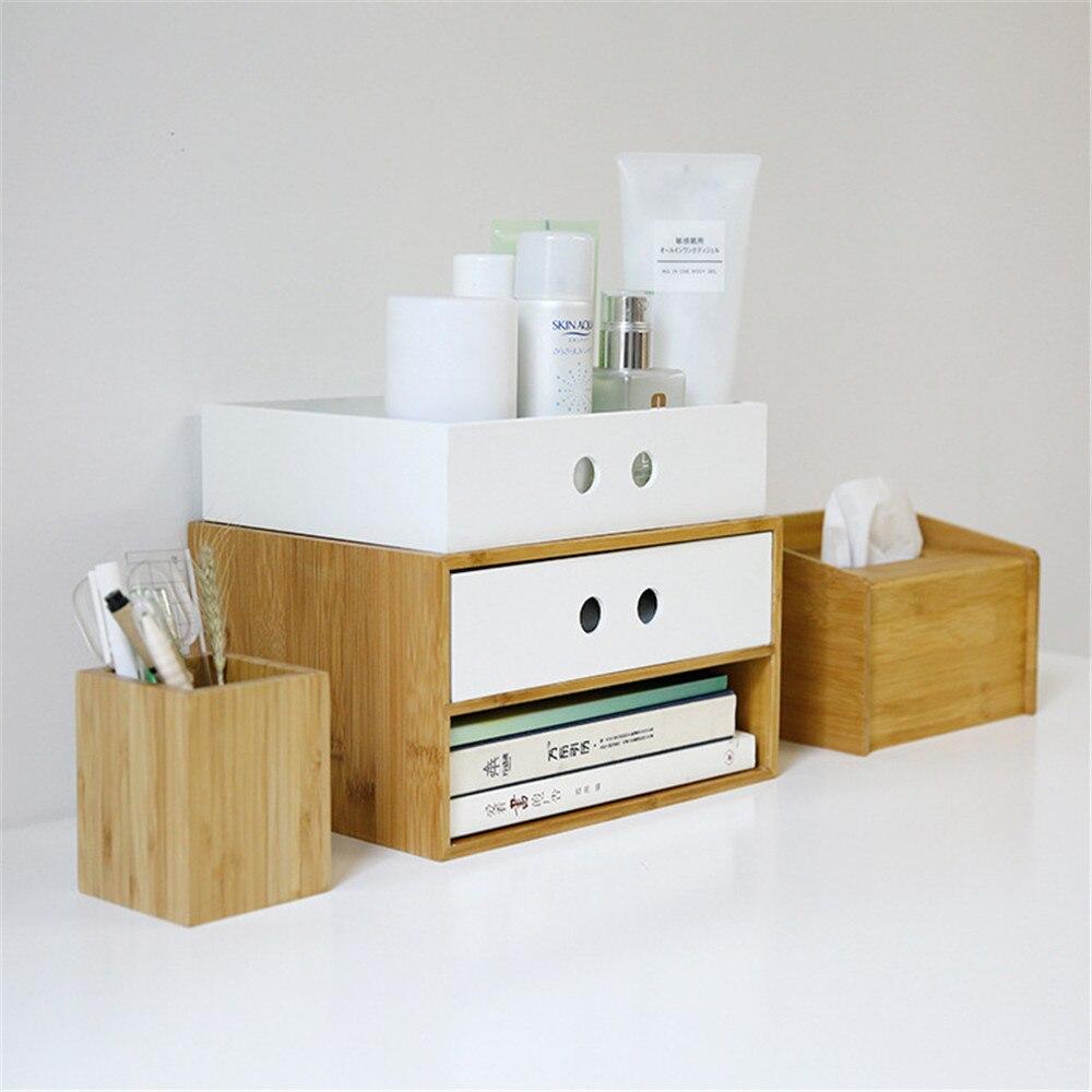 Bambou Double couche tiroir de rangement bureau bureau fichier boîte de rangement qualité bois naturel maquillage articles divers organisateur maison