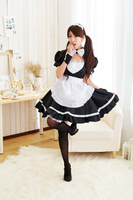Lovely Ladies Sexy Maid Costumes Bow Lenceria Cosplay Uniform Lace Black And White Coffee Shop Nightclub Wear 5PCS Suits QQ481