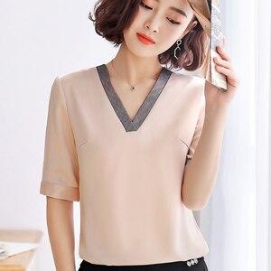 Image 2 - คุณภาพสูงแฟชั่นผู้หญิงVคอเสื้อ 2019 ใหม่ครึ่งแขนหลวมเสื้อชีฟองเสื้อOLอารมณ์ผู้หญิงบวกขนาดเสื้อ
