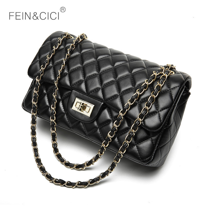 chains double flap bag women quilted shoulder bag luxury brand classic fashion lady crossbody handbag 2018 new quality red black luxury brand chains double flap bag 100% genuine leather sheepskin women classic shoulder bag handbag totes red black beige pink