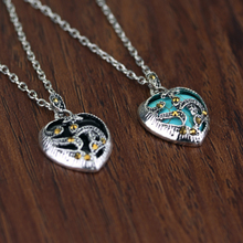 Turquoise Glow In the Dark Heart Necklace Pendant Christmas Gift for Daugher Mum Free Shipping