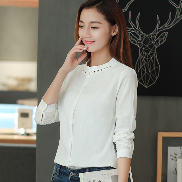 59330f3a56d9 New Fashion 2018 Spring Women Cotton Linen Blouse Full Sleeve Button  Closure Ladies Simple Summer Tops for Work D3A XS S M