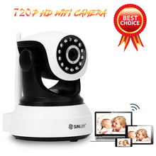 SUNLUXY 720P HD WiFi IP Camera 1MP Wireless Network Onvif CCTV Baby Camera P/T IR Night Vision Support 32G SD Card Video Audio