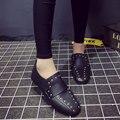 AD AcolorDay Мода Горячие Продажа Марка Женская Обувь Повседневная Площади носок Твердого Скольжения на Женщин Летние Туфли Черные Металлические Заклепки мокасины