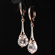 Free shipping New Fashion Hot Women/Girl's  Rose Gold-color White CZ Stone Crystal Pierced Dangle Drop Earrings Jewelry Gift