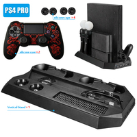 PS4 Pro Vertical Stand Cooling Fan with Dual Controller Charging Stand and PS Move Dual Charger for Sony Playstation 4 Pro
