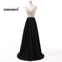 Doragrace robe de soiree A-Line Floor-Length V-Neck Black Crystal Formal Evening Dresses