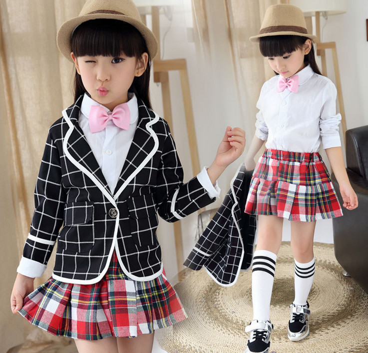 New 2016 Kids Girls 3 Piece Clothes Set for Spring Autumn Children Plaid Coat+white shirts +Red tutu dress Suit  For School Wear kids spring formal clothes set children boys three piece suit cool pant vest coat performance wear western style