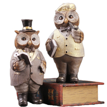 Creative American Gentleman Owl Miniature Resin Desktop Handicrafts Ornaments Cute Figurine Home Decoration Accessories Gift