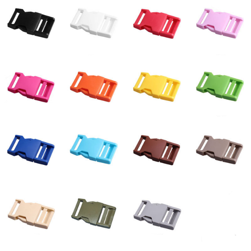 10pcs Plastic Buckles 25mm 15 Colors Dual Adjustable Side Release Buckles For Backpack Luggage Travel Bags 1 Inch Webbing Straps