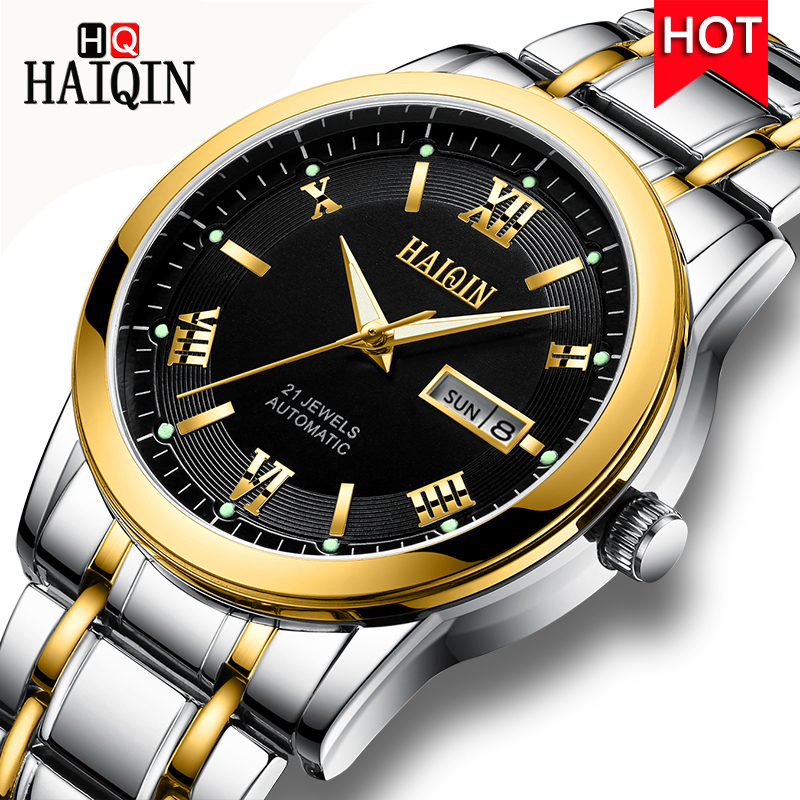 HAIQIN Men s Watches 2019 Top Luxury Golden Mechanical Automatic Waterproof Fashion Military Sports Watch Men