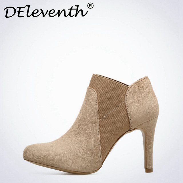 e3f804a78fc8 DEleventh New winter Style Solid Color Black Apricot Casual shoes Slip-On  Pointed Toe High Heel Boots Shoes zapatos de mujer