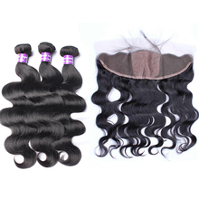 Silk Base Lace Frontal Closure With Bundles Body Wave  Brazilian Human Hair Weave Bundles Honey Queen Hair Products Remy